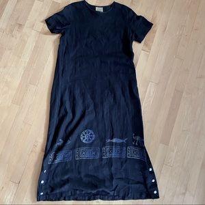 Blue Cactus Vintage Black Linen Aztec Long Dress S